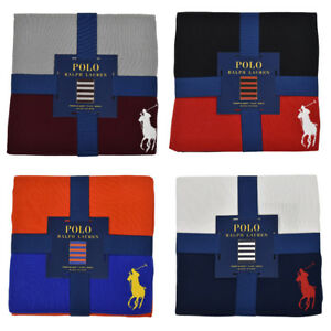 "Polo Ralph Lauren Home Striped Big Pony Throw Blanket 50"" x 70"" New"