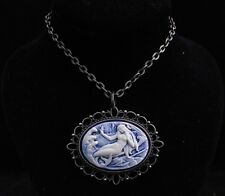 "24"" Vintage Style Mermaid Cameo Pendant Necklace"