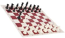 """Black & White Chess Pieces & 20"""" Red Vinyl Board - Triple Weighted Chess Set"""