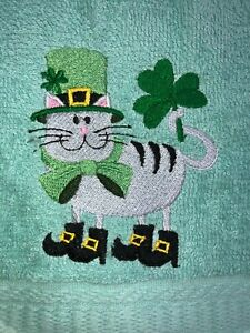 Embroidered Teal Bathroom Hand Towel Tan Cat St Patrick's Day Shamrocks Boots