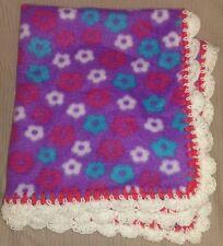 New Violet Pink Purple Handmade Crocheted Fleece Preemie Baby Blanket Soft Nwt