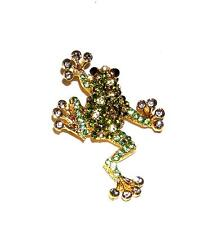 & Gold Rhinestones Leaping Frog Brooch/Pin Gt Colorful Lime Olive Green