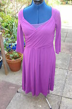 LK BENNETT SIZE 12 CHIC SEXY JERSEY 3/4 SLEEVED DRESS  *WITH STRETCH* & DRAPE