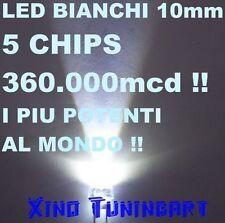 n°1 WHITE LED BIANCO 10mm 5-CHIPS 360,000mcd 1W 40° ALTA POTENZA Luminosità XINO