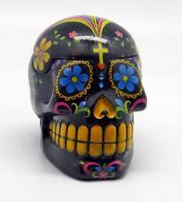 Black Day of the Dead Sugar Skull Mexican Dia De Los Muertos Trinket Box