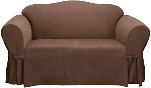 Surefit Universal Loveseat Slipcover Relaxed Fit Soft Suede Brown