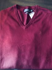 NWT RALPH LAUREN POLO V NECK PIMA COTTON SWEATER BURGUNDY WINE RED  PONY $98 L