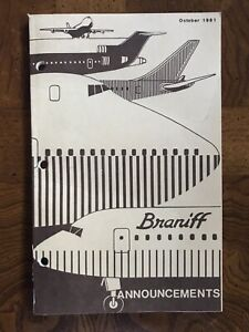 Braniff International Flight Attendant Announcements Book