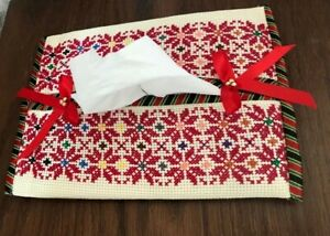 Handmade Palestinian Embroidered Tissue Box White With Red Embroidery-Home Decor