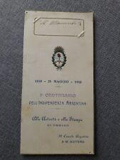 MENÙ Società Centenario dell' indipendenza Argentina Console Bottero Torino 1910