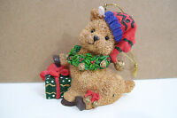 "Resin type Bear Easter Bunny Rabbit Elf Hat Gift Box Wreath Ornament 3"" Tall"