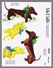 Vintage McCall's Stuffed Animals Nosy DOG KITTEN  Fabric Sewing Pattern #1810