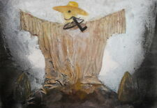 Vintage oil collage field scarecrow painting