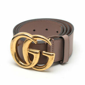 """GUCCI GG Marmont Belt Leather Beige X Gold 32"""" 80cm Men Auth Used from Japan"""