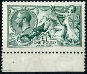 GB KGV 1913 £1 Seahorse SG403 / 404 Green Fine Centering Unmounted Mint