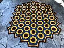 Large Crocheted Sunflower Afghan Blue Throw Bedspread 51 Hexagons