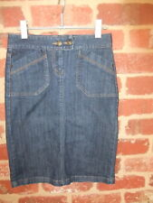 PRE LOVED JACQUI E DENIM STRAIGHT SKIRT LADIES SIZE 6 PATCH POCKETS