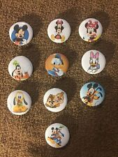 10 Disney Mickey Minnie 1� Buttons mixed lots pinbacks Set 1 Friends Chip Dale