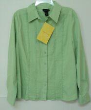 NEW size 12 Dialogue light green SHIRT ruffle pintuck long sleeve