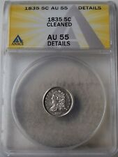"""1835 Capped Bust Half Dime """"ANACS AU55 Cleaned"""" *Free S/H After 1st Item*"""