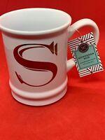 "NWT Modern Expressions Monogram ""S"" Coffee MUG CUP TEA 19oz Ceramic"