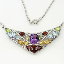 64.01ct NATURAL FANCY AMETHYST,GARNET,PERIDOT,CITRINE,TOPAZ 925 SILVER NECKLACE