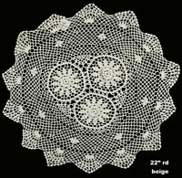 """22"""" Round Beige Cotton Crochet Lace Doily Tablecloth 1PC Handmade FREE S&H"""