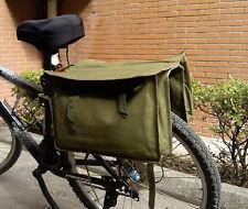 Vintage Green Canvas Military Surplus Style Messenger Bag Bicycle Pannier-D1054