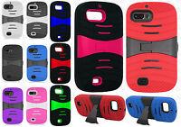 For ZTE Valet Z665c HYBRID Hard Gel Rubber KICKSTAND Case Phone Cover Accessory
