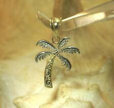 7d9538b4b 14MM SMALL 2-TONE 14K YELLOW GOLD TEXTURED HAWAIIAN PALM TREE SCROLLS  PENDANT