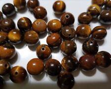 8 perles semi précieuses gemmes OEIL DU TIGRE 8mm marron / ocre //40