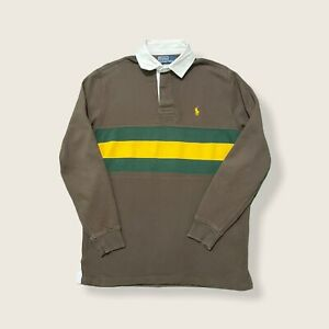 Vintage Polo Ralph Lauren Rugby Striped Sweatshirt Size Small Brown/Yellow/Green