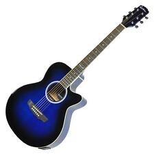 New Martinez Small-Body Acoustic-Electric Cutaway Guitar (Blue)