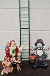 "lot of 2 large Santa & Snowman Figurines & 24"" green Wood Ladder Holiday Decor"