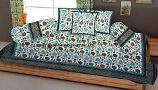 Diwan Set Cotton Bed Cover Bohemian Ethnic Indian Bolster Cushion Sofa cover Set