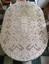 "Antique Heavy Lace Tablecloth 61"" x 78"""