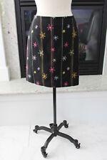 Tori Richard Black Embroidered Flowers Stripes SUPER CUTE Straight Skirt 8