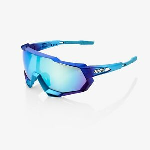 Ride 100% Speedtrap Sunglasses Matte Metallic-Blue Topaz Multilayer Mirror Lens