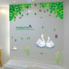 Wedding Swan butterfly wall sticker Leaves bedroom decor bathroom home decor