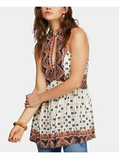 FREE PEOPLE $98 Womens New 0212 Ivory Printed Collared Tunic Casual Top M B+B