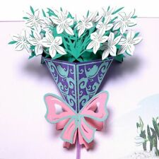 3d Pop Up Greeting Card Mothers Day Mom Anniversary Jasmine Rose Flower Gifts