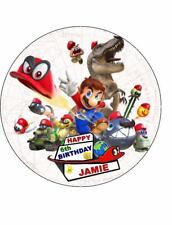 MARIO ODYSSEY 19cm Round PERSONALISED Edible Image ICING Sheet Cake Topper