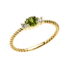 10k Yellow Gold Dainty Solitaire Peridot & White Topaz Rope Stackable Ring