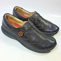 Women's Clarks Unstructured Brown Leather Shoes Slip-on Casual Comfort-7.5 N