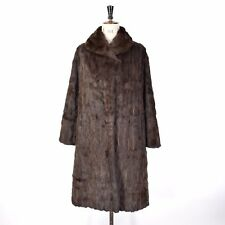Women's Brown VTG Glam REAL CONEY RABBIT FUR Long Glossy Party Coat Jacket UK 16