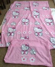 Hello Kitty Pink Single Duvet Cover Set With Pillowcase Flowers Rabbits Bunnys