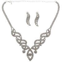 Braut Hochzeit Schmuck Set Mode Strass Halskette Ohrringe Geometrische Wrap T1C4