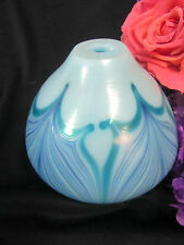 VINTAGE  Art Deco STUDIO ART GLASS pulled feather OIL LAMP BASE Hand blown vase