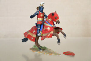 HISTOREX ENGLISH FRENCH KNIGHT in RED with SWAN HELMET on REARING HORSE nz