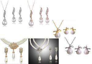 SILVER OR GOLD 3 DESIGN CREAM GLASS PEARL NECKLACE/ PENDANT SETS
